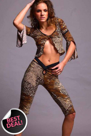 NN8 Compleu sexy model animal print - top si pantaloni treisfert