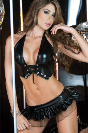 P126 Costum animatie top si fusta latex