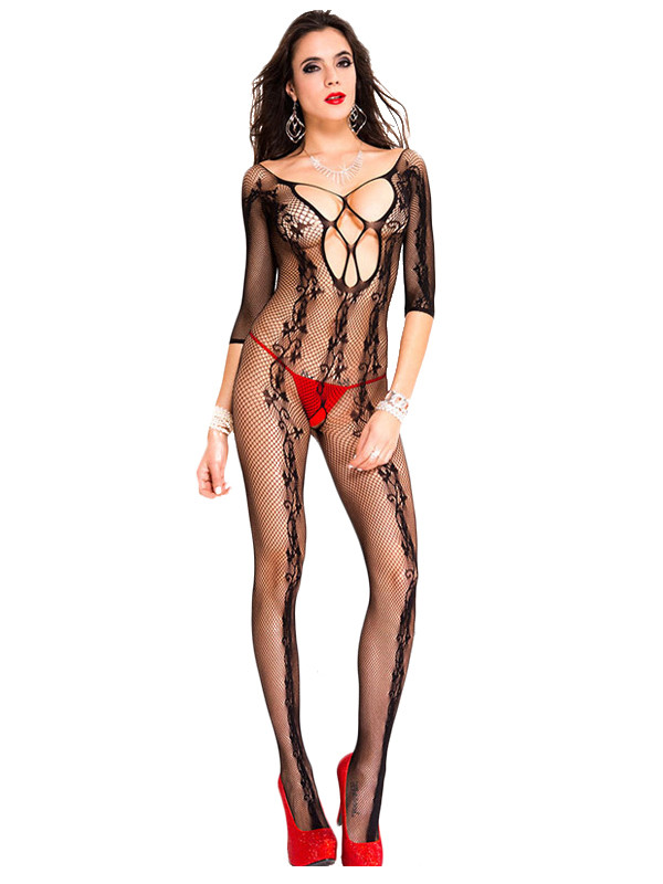 BS215-1 Lenjerie sexy tip bodystocking din plasa si cu model floral