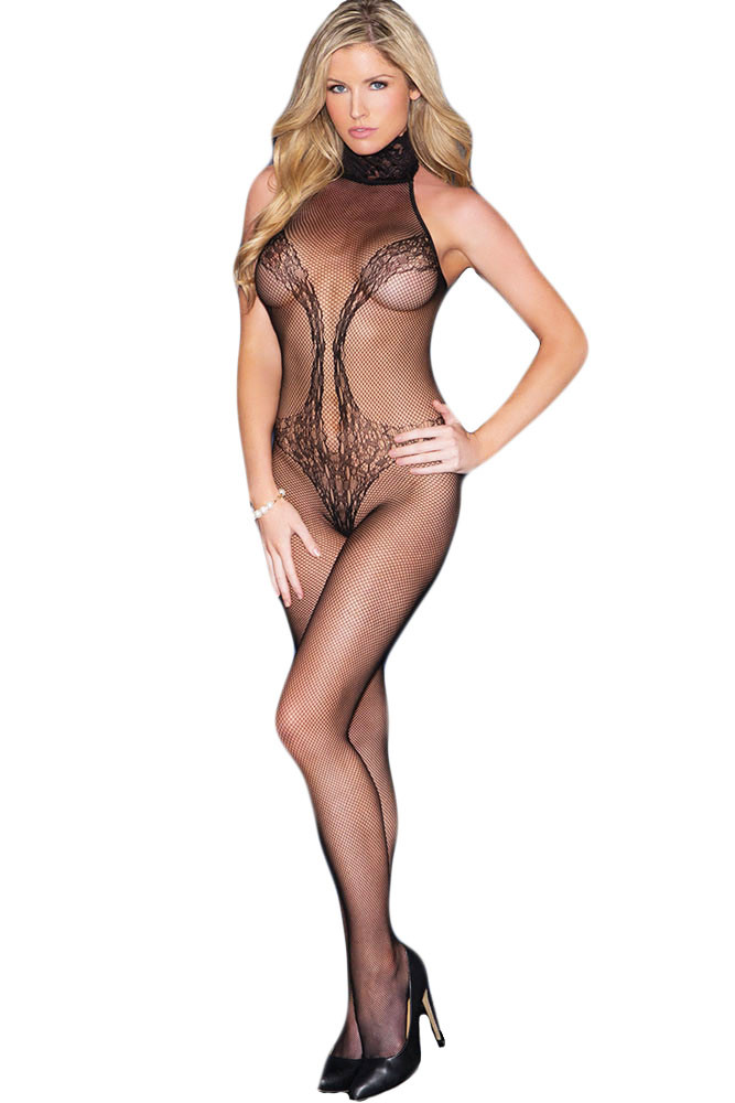 BS201-1 Lenjerie semitransparenta tip bodystocking, cu model
