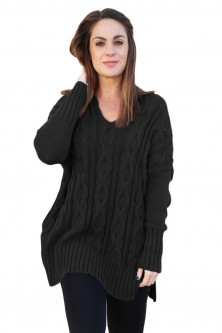 Bluze si cardigane - A748-1 Pulover casual tricotat model oversize