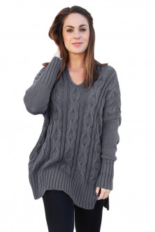 Bluze si cardigane - A748-181 Pulover casual tricotat model oversize