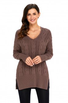 Bluze si cardigane - A748-881 Pulover casual tricotat model oversize