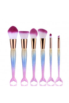 Make Up - AC1302-5 Set 6 pensule make up, cu manere colorate mermaid fishtail