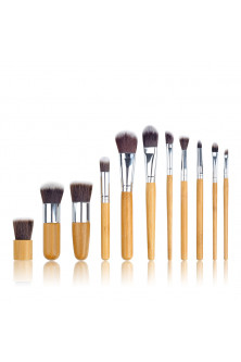 Make Up - AC1344-8 Set 11 pensule de make up profesional, cu manere din bambus