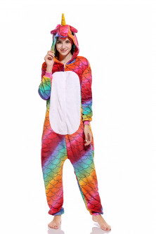 PJM53-319 Pijama intreaga kigurumi, model unicorn multicolor