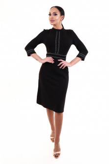 Office - V798-1 Rochie office eleganta cu model in dungi
