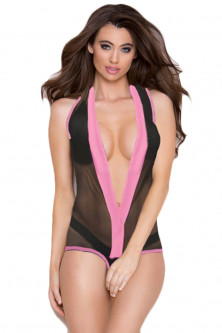 Lenjerie intima - X762-1 Body sexy, semitransparent cu decolteu adanc in V