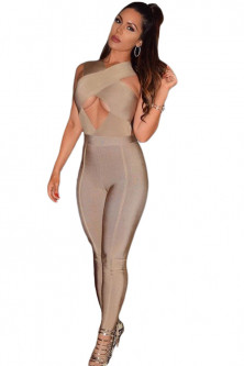 Party - BAN406-14 Salopeta sexy bandage, cu model decupat la bust