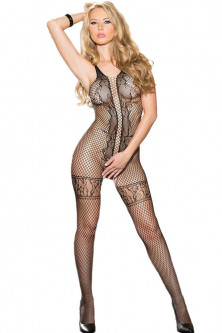 Bodystockings, catsuit - BS233-1 Bodystocking negru si sexy din plasa
