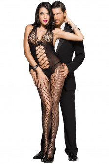 Bodystockings, catsuit - BS286-1 Bodystocking negru si sexy cu model dantelat
