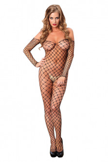 Bodystockings, catsuit - BS295-1 Bodystocking sexy stil plasa cu ochiuri mari