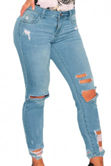Outlet - CL662-411 Jeans skinny cu talie inalta si model taiat