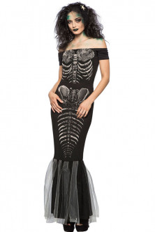 Alte costume tematice - M548-1 Costum cu tematica Halloween - Skeleton Mermaid
