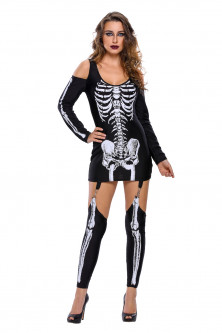 Alte costume tematice - P547-1122 Rochie tematica Halloween - X-rayed Skeleton