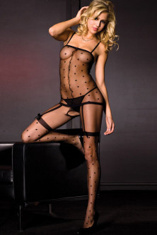 Bodystockings, catsuit - BS185-1 Bodystocking negru si sexy cu model buline