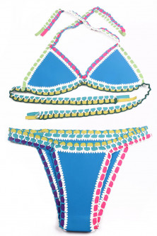 Costume de baie ieftine - SW860-411 Costum de baie multicolor, cu neopren si model crosetat