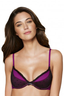 Sutiene cu push up  - TPH275 Sutien elegant cu burete si push-up, decorat cu plasa neagra Miss Xmas Party