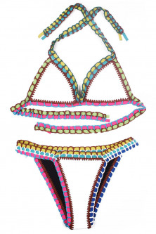 SW860-211 Costum de baie multicolor, cu neopren si model crosetat
